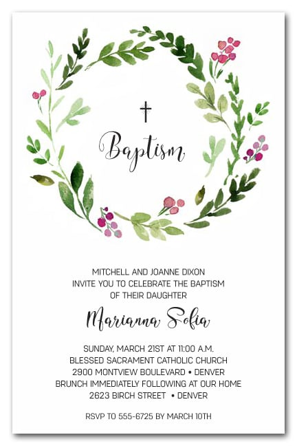 Pink Bud Wreath Baptism And Christening Invitations