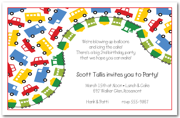primary transportation boys birthday party invitations