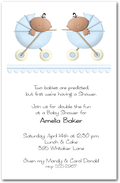 Ethnic Stroller Twin Boys Baby Shower Invitations