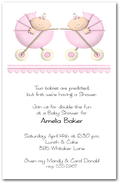 Stroller Twin Girls Baby Shower Invitation, Baby Girls Shower
