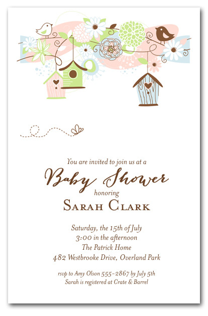 Birdhouses And Bees Baby Shower Invitations