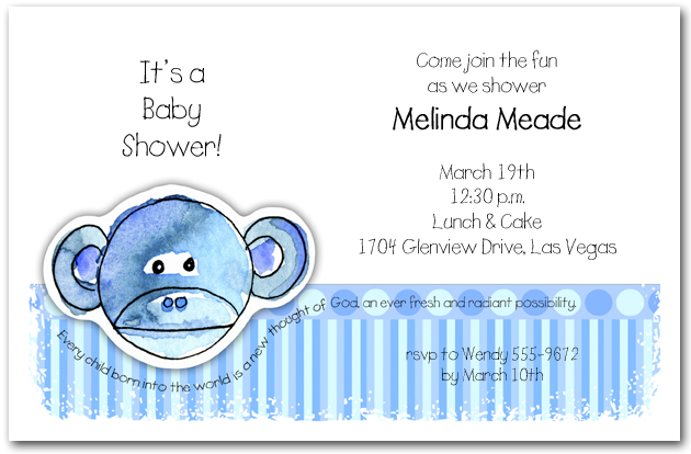 Zoo Babes Monkey Baby Shower Invitations Monkey Baby Shower Invitations