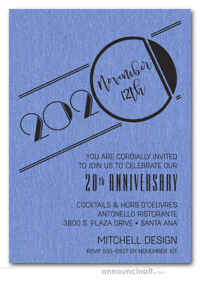 Art Deco Shimmery Blue Business Anniversary Invitations