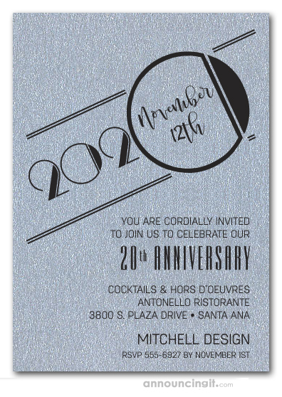 Art Deco Shimmery Silver Business Anniversary Invitations