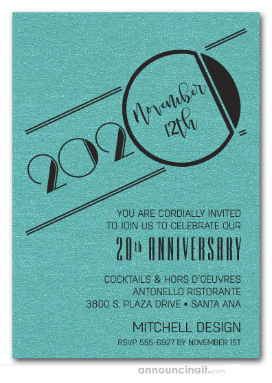 Art Deco Shimmery Turquoise Business Anniversary Invitations