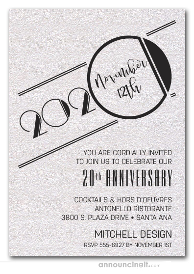 Art Deco Shimmery White Business Anniversary Invitations