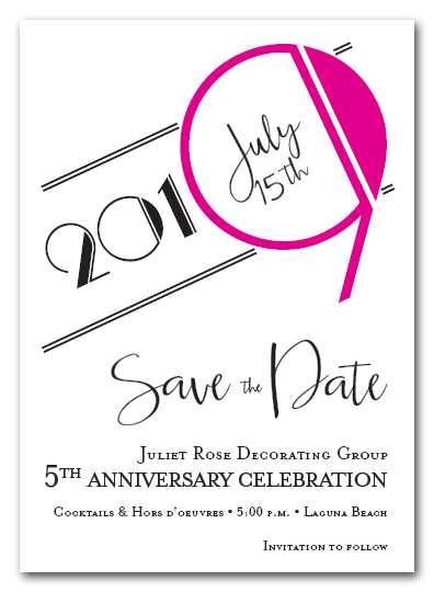 Art Deco Hot Pink Business Save the Date Cards