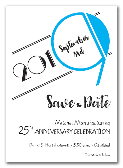 Art Deco Turquoise Business Save the Date Cards