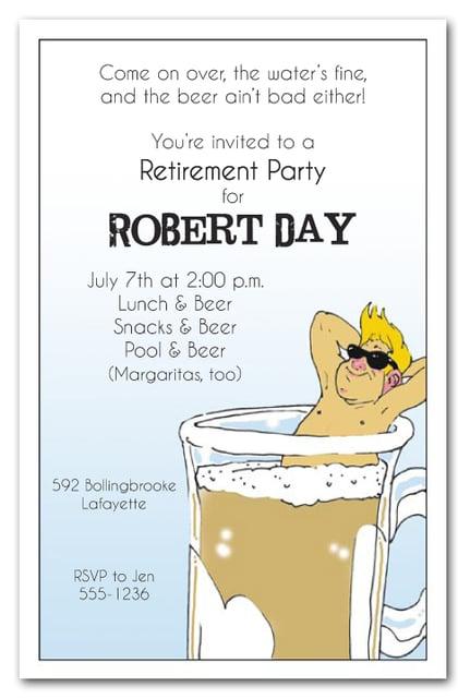 man in beer mug retirement party invitations
