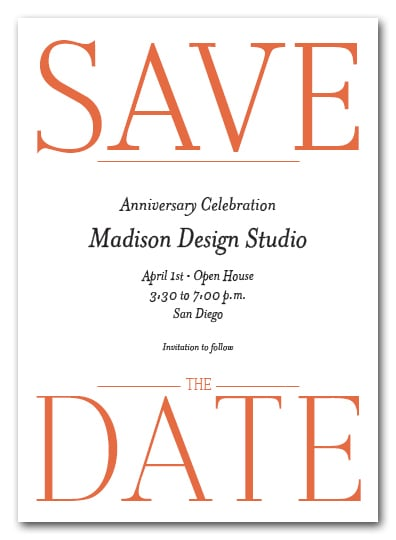 Bold Orange Business Save the Date