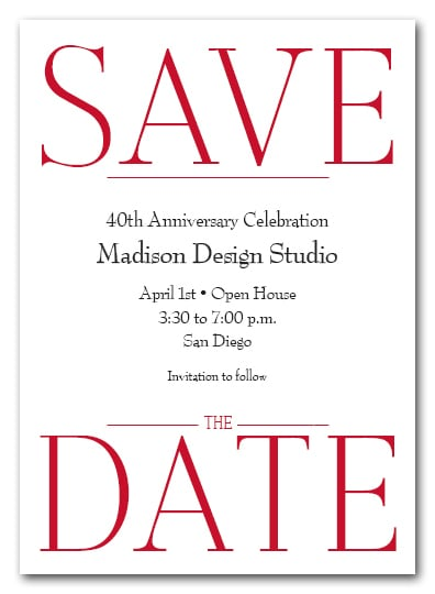 Bold Red Business Save the Date