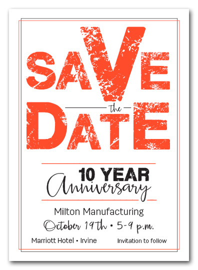 Edgy Orange Business Save the Date Cards