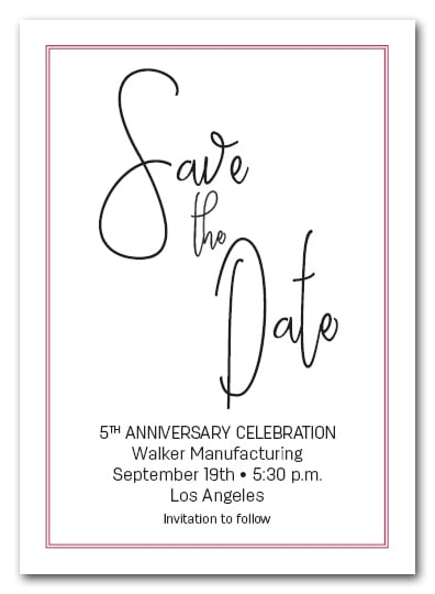 Brisk Hot Pink Border Business Save the Date