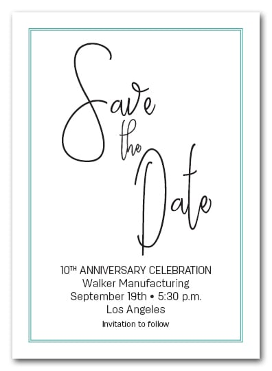 Brisk Turquoise Border Business Save the Date