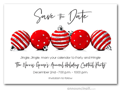 Red Ornaments Holiday Save the Date Cards