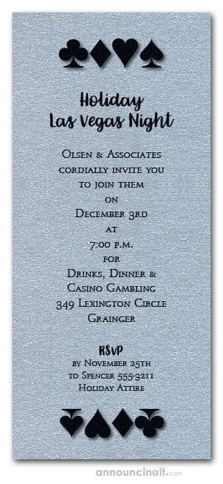 Card Suits on Shimmery Silver Holiday Invitations