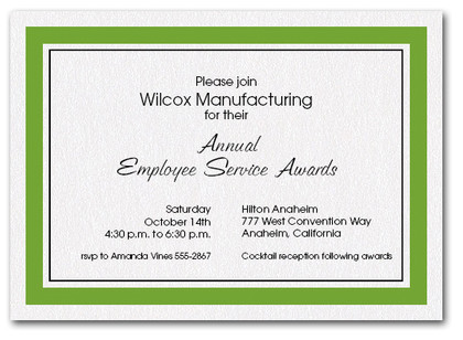 Green Bordered Business Invitations