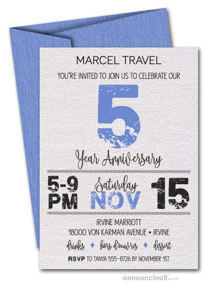 Grunge Blue Business Anniversary Shimmery Invitations