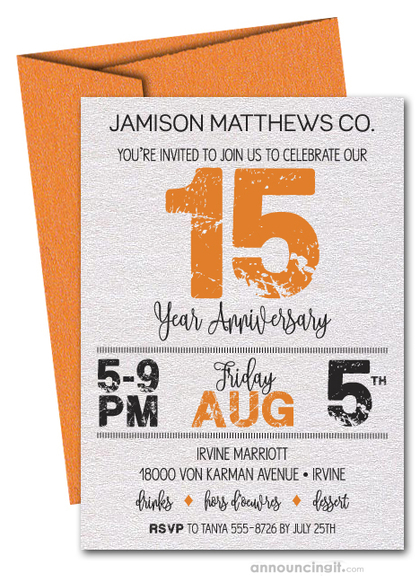 Grunge Orange Business Anniversary Shimmery Invitations