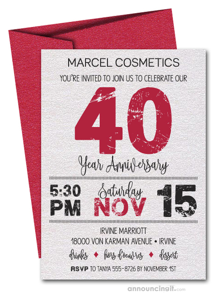Grunge Red Business Anniversary Shimmery Invitations