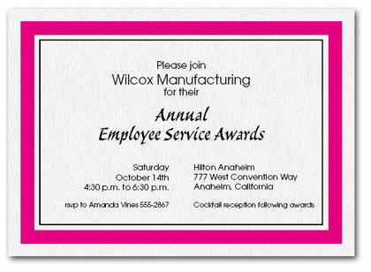 Hot Pink Bordered Business Invitations
