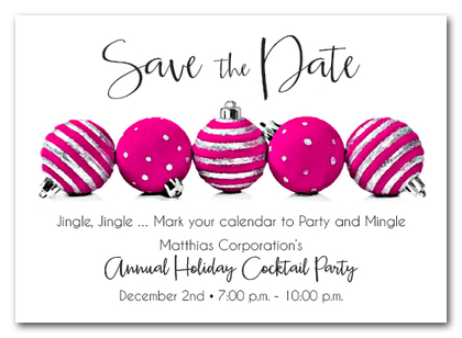 Hot Pink Ornaments Holiday Save the Date Cards