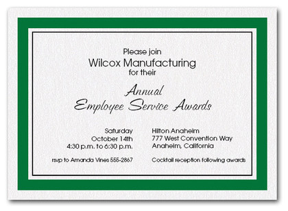 Hunter Green Bordered Business Invitations