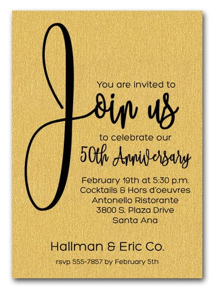 Gold Join Us Business Anniversary