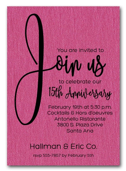 Join Us Shimmery Hot Pink Business Anniversary Invitations