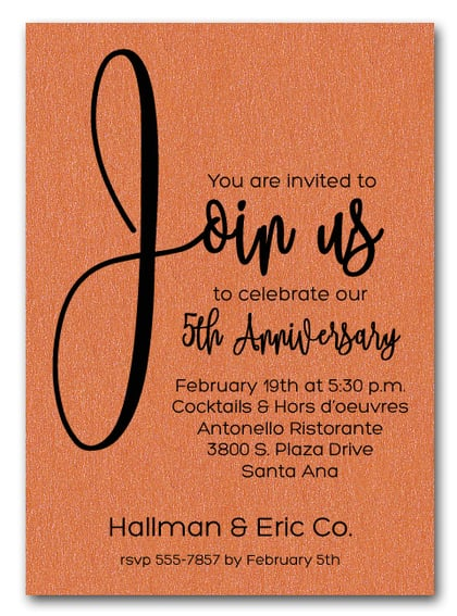 Join Us Shimmery Orange Business Anniversary Invitations