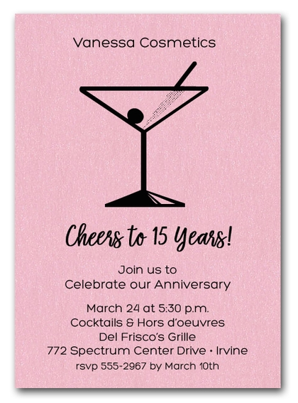 Martini on Shimmery Pink Business Invitations