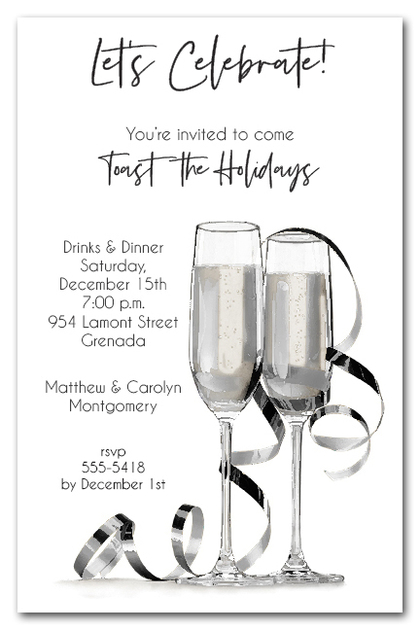 Noir Champagne & Streamers Business Holiday Invitations
