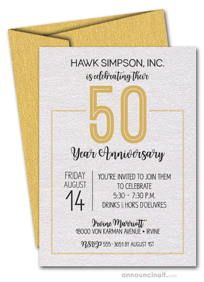 Numbered Gold Business Anniversary Shimmery Invitations