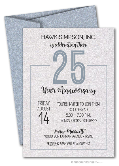 Numbered Silver Business Anniversary Shimmery Invitations