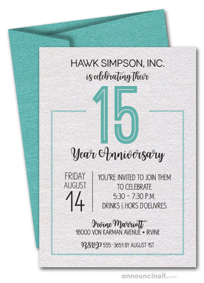 Numbered Turquoise Business Anniversary Shimmery Invites