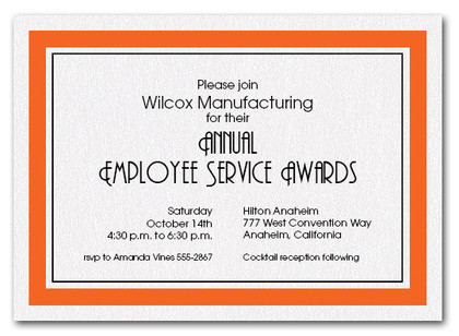 Orange Bordered Business Invitations