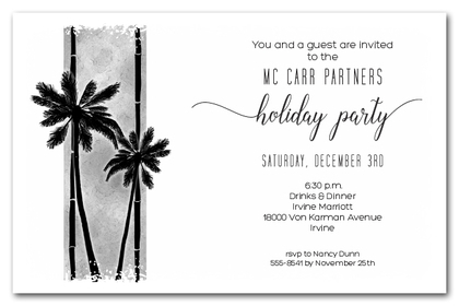Palm Silhouettes on Grey Holiday Business Invitations