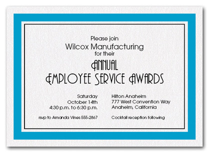 Peacock Blue Bordered Business Invitations