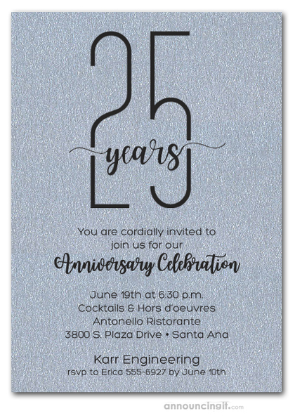 Slender Shimmery Silver Business Anniversary Party Invitations