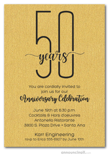 Slender Shimmery Gold Business Anniversary Party Invitations