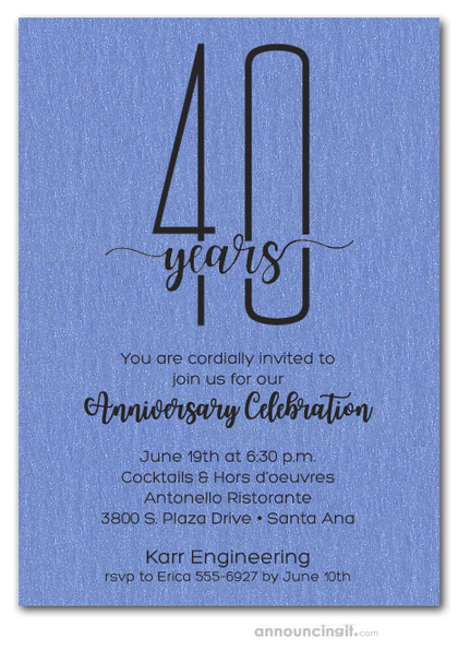 Slender Shimmery Blue Business Anniversary Party Invitations