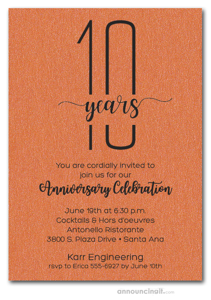 Slender Shimmery Orange Business Anniversary Party Invitations