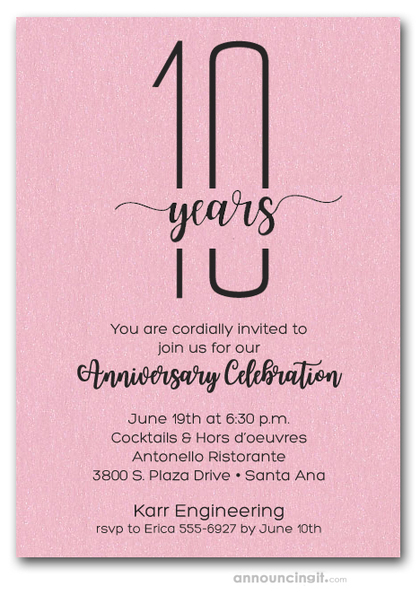 Slender Shimmery Pink Business Anniversary Party Invitations