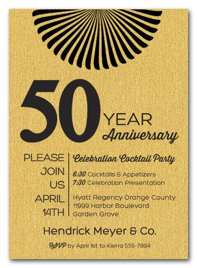 sunburst on shimmery gold business anniversary party invitations