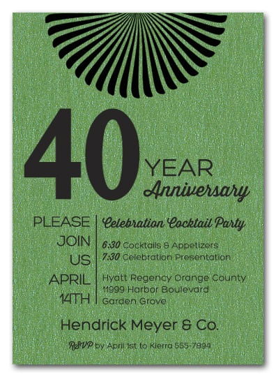 Sunburst Shimmery Green Business Anniversary Invitations