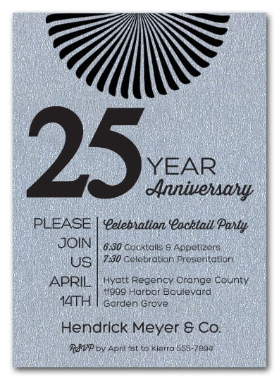 Sunburst Shimmery Silver Business Anniversary Invitations