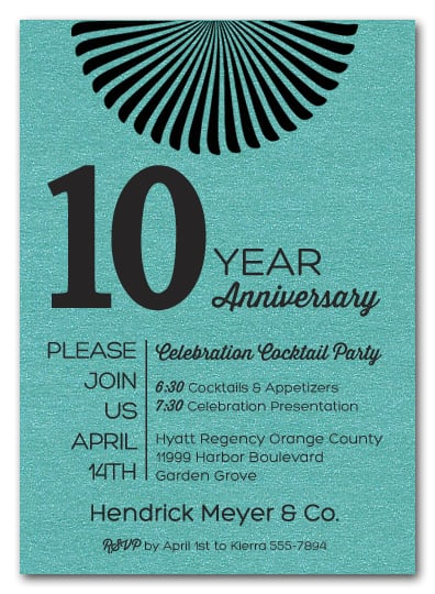 Sunburst Shimmery Turquoise Business Anniversary Invitations