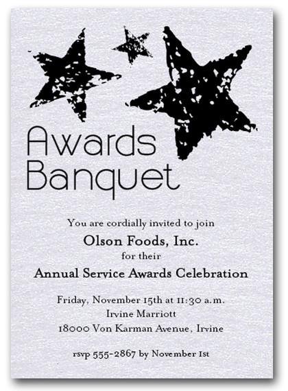 Stars On White Sparkle Business Awards Invitations