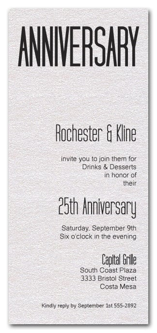 Tall Shimmery White Anniversary Invitations