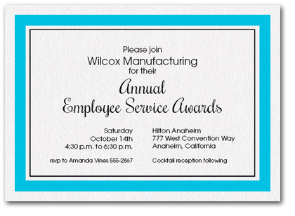Teal Bordered Business Invitations